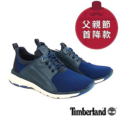 Timberland 男款藍色布面搭皮革淺口鞋