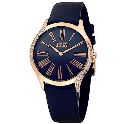 NATURALLY JOJO 羅馬戀情晶鑽皮革錶-深藍/36mm
