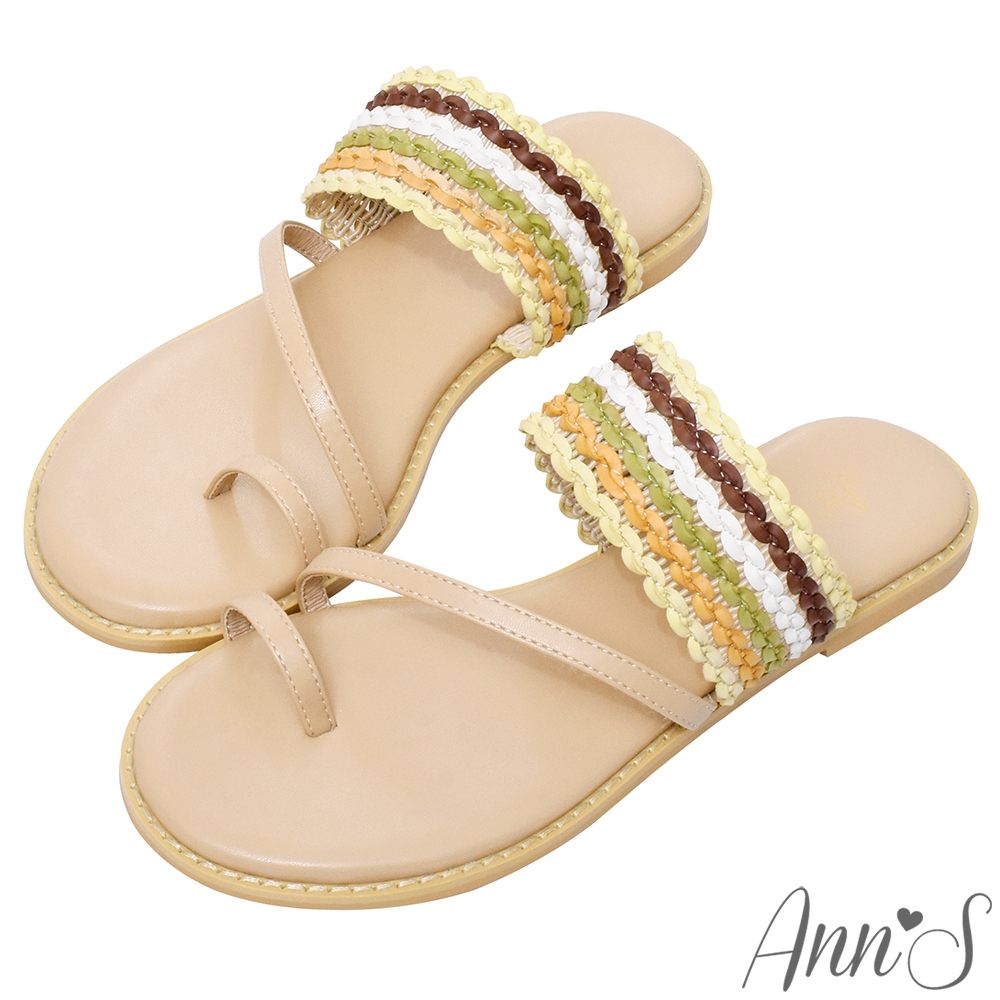Ann'S漸層波西米亞彩色編織套指寬版平底涼拖鞋-杏(版型偏小)