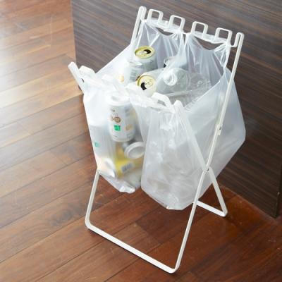 日本YAMAZAKI-tower立地式垃圾袋掛架(白)★居家收納/垃圾桶/收納架/回收