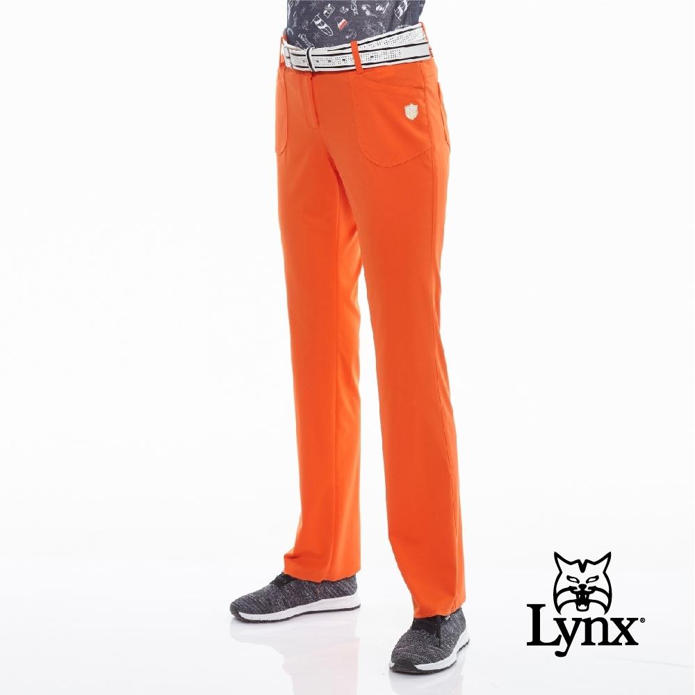 【Lynx Golf】女款彈性舒適貼袋設計運動長褲-橘色