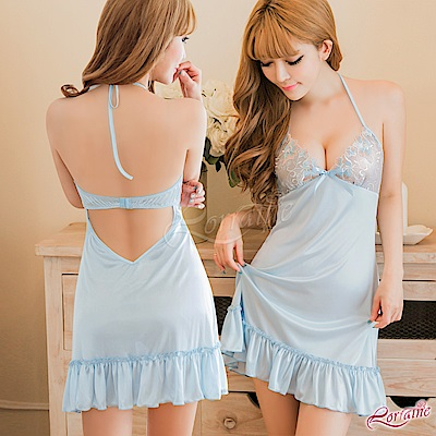 性感睡衣 夢幻水藍綁脖美背柔緞睡衣(水藍F) Lorraine