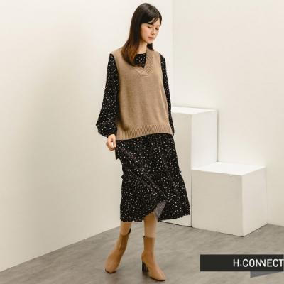 H:CONNECT 韓國品牌 女裝 -點點印花兩件式背心洋裝-黑色