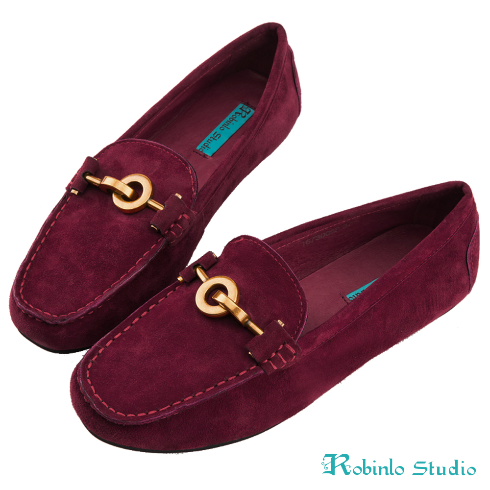 Robinlo 低調感幾何金屬圓環飾扣莫卡辛鞋 酒紅