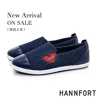 HANNFORT CALIFORNIA 愛心丹寧輕量休閒鞋-女-深藍