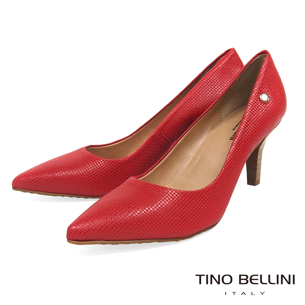 Tino Bellini 巴西進口精緻工藝全編織尖頭跟鞋 _ 紅