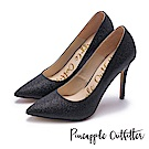 Pineapple Outfitter 簡約奢華 璀璨羊皮尖頭高跟鞋-黑色