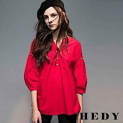 Hedy赫蒂 珍珠壓褶泡泡袖開襟長版上衣(共兩色)