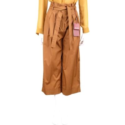 MAX MARA  桔棕色花苞綁帶反折寬褲