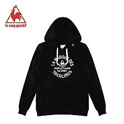 le coq sportif 法國公雞牌長袖連帽T恤 男-黑