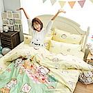 戀家小舖 / 單人床包枕套組  麻吉貓野餐派對-兩色可選  100%精梳棉  台灣製