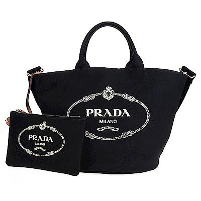 PRADA 單寧帆布印字LOGO手提/肩揹兩用水桶包附小袋 (黑色)
