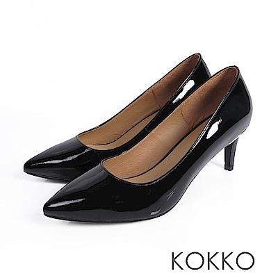 KOKKO - 風華再現素面尖頭高跟鞋 - 星光黑