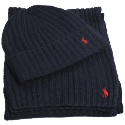 RALPH LAUREN POLO 小馬LOGO刺繡羊毛圍巾毛帽組(深藍色)