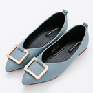 River&Moon中大尺碼-時尚方金扣Q軟橡膠平底尖頭鞋-藍