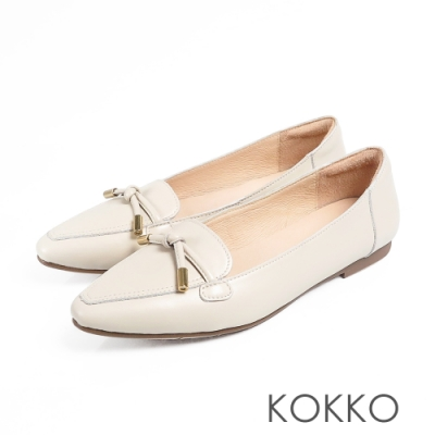 KOKKO流金歲月軟底彎折小方頭平底鞋雪紡白