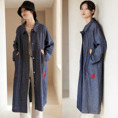 訂製色織牛仔棉麻撞色風衣外套中長版-設計所在