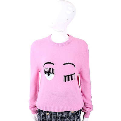 Chiara Ferragni Flirting 粉紅色眨眼圖騰美麗諾羊毛衫