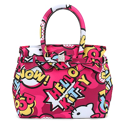 SAVE MY BAG Petite Miss系列Hello Kitty輕量托特包-桃紅色