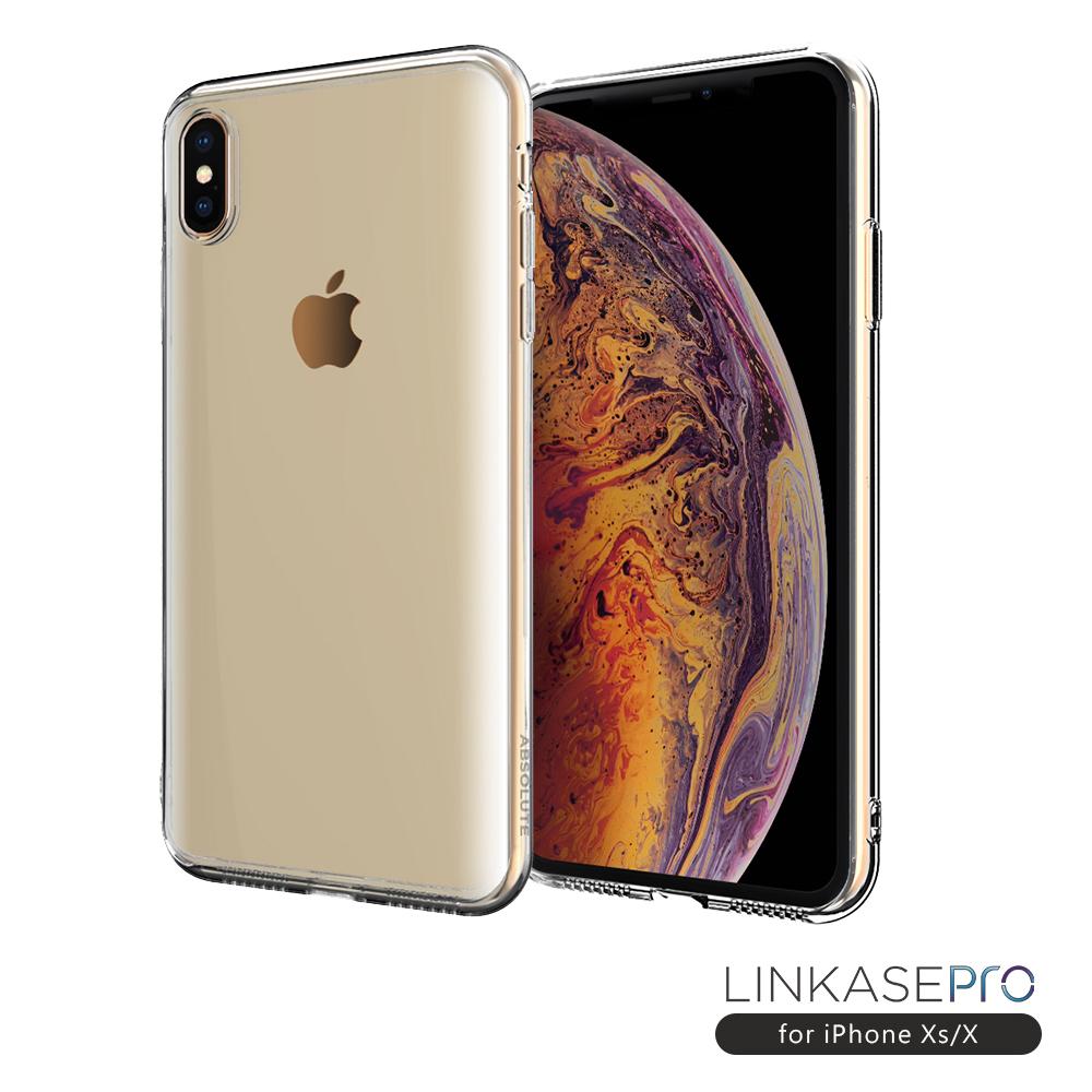 LINKASE PRO iPhone XS/X 防摔認證大猩猩9H康寧曲面玻璃保護殼-透明