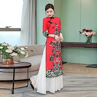 修身立領印花中國風旗袍S-5XL-REKO