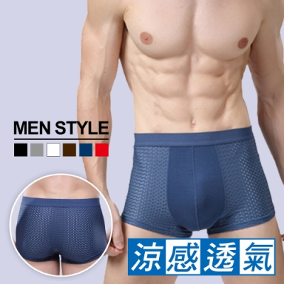 Olivia 超舒適透氣冰絲涼感網孔男士內褲 6件組-顏色隨機