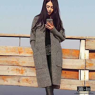 Jilli-ko 韓版中長款針織開衫外套-灰/卡