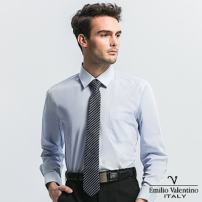 Emilio Valentino 范倫提諾都會經典長袖襯衫-藍