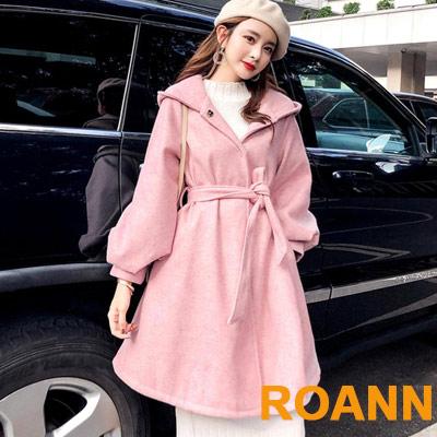 純色燈籠袖斗篷式連帽毛呢外套 (共二色)-ROANN
