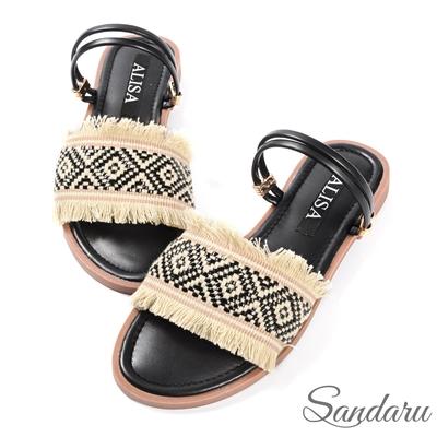 山打努SANDARU-涼鞋 波西米亞金線軟底兩穿涼鞋-黑