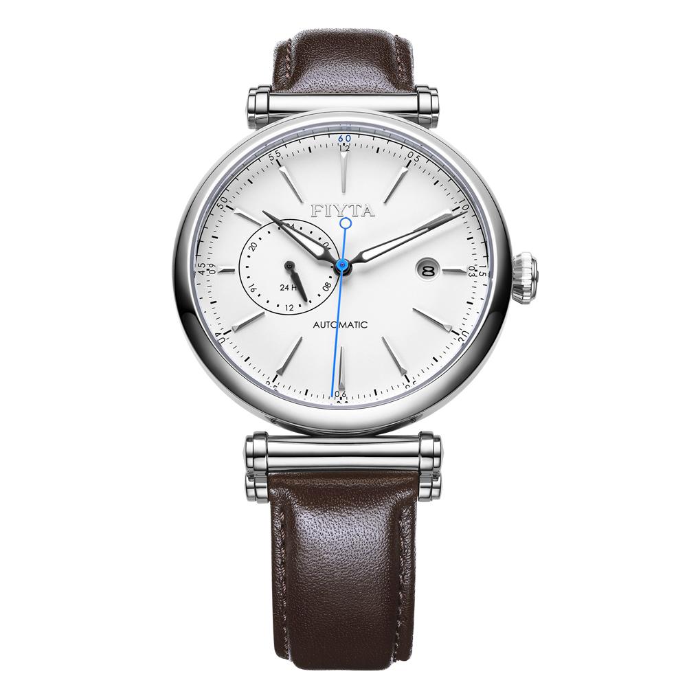 FIYTA飛亞達 IN系列紳士白面褐色皮帶機械錶GA850002.WWR-41.5mm
