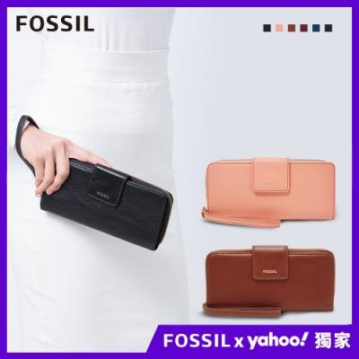 【FOSSIL】Madison 手腕帶實用長夾(多色任選)