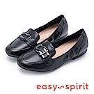 Easy Spirit CRICKET 時尚英倫真皮鬆緊樂福鞋-黑色