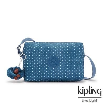 Kipling 復刻單寧水玉藍小巧簡約拉鍊方包-COLLEEN