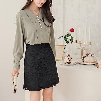 純色立體蕾絲氣質包裙/短裙-OB大尺碼