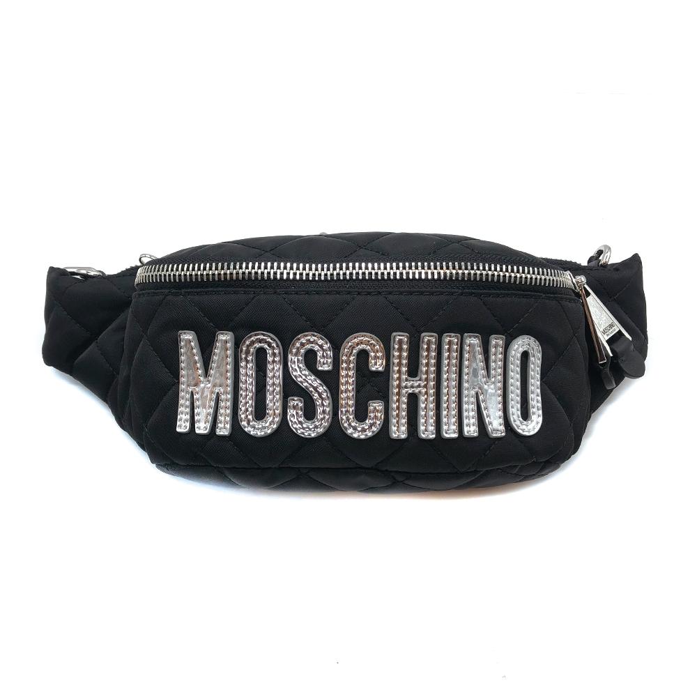 MOSCHINO 黑菱格縫線銀亮皮尼龍腰包/斜背包