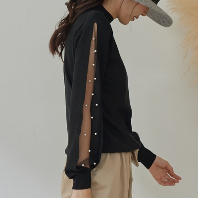 JILLI-KO 網紗珠飾袖身透膚針織衫- 黑