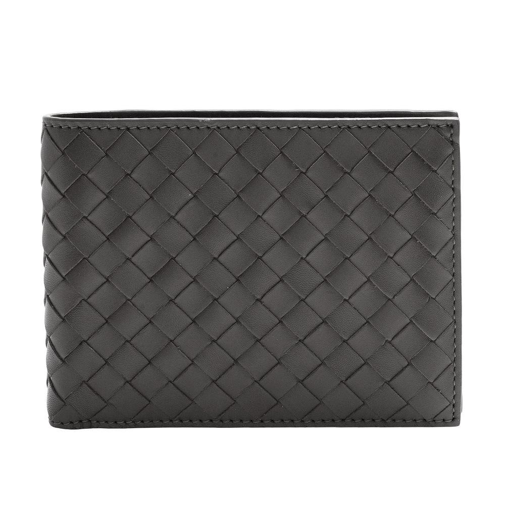 BOTTEGA VENETA 經典小牛皮編織摺疊短夾(泥灰色-3卡+暗釦零錢袋) @ Y!購物