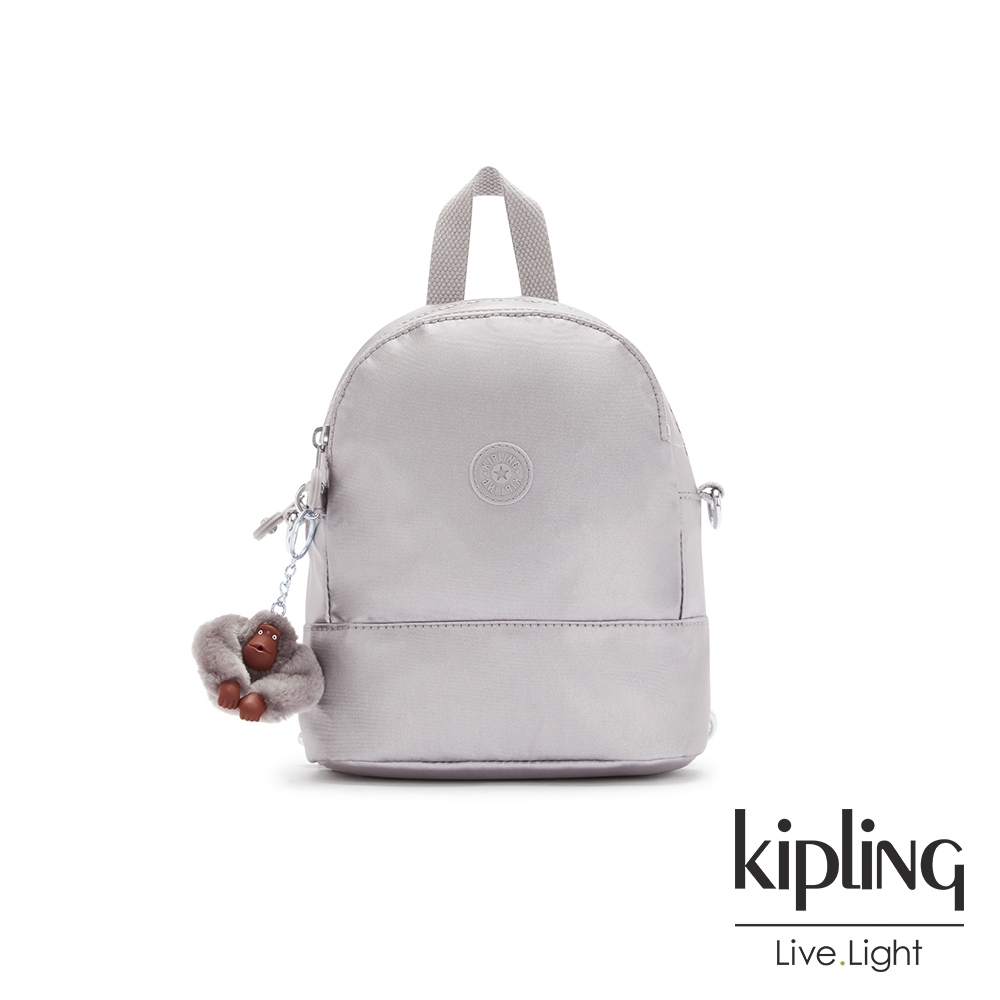 Kipling 知性光澤銀灰隨身兩用斜背包-IVES MINI