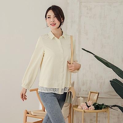 純色蕾絲拼接拋袖雪紡襯衫-OB大尺碼