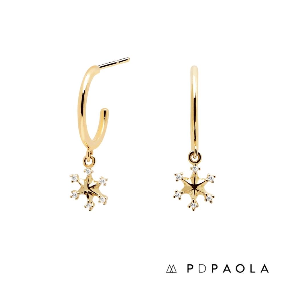 PD PAOLA 西班牙輕奢時尚品牌 晶鑽雪花垂墜耳環