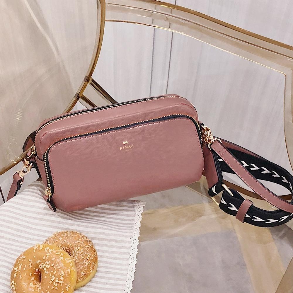 KINAZ 雙背帶拉鍊斜背相機包-紅粉佳人-城市輕旅系列