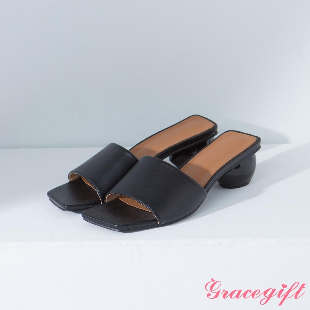 Grace gift-方頭寬帶圓跟涼拖鞋 黑