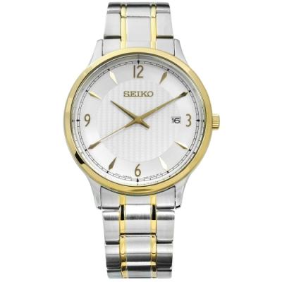 SEIKO 精工 簡約 礦石玻璃 日期 防水100M 不鏽鋼手錶-銀x鍍金/41mm
