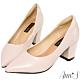 Ann'S加上優雅高跟版-復古皮革沙發後跟尖頭鞋-粉 product thumbnail 1