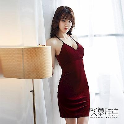 性感睡衣 金絲絨蕾絲美背優雅吊帶裙。酒紅 久慕雅黛