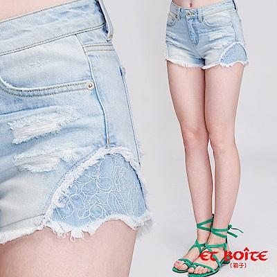 ETBOITE 箱子 BLUE WAY 異色繡花短褲(淺藍)