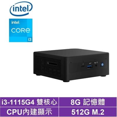 Intel NUC平台i3雙核{黑風聖騎} 迷你電腦(i3-1115G4/512G M.2 SSD)