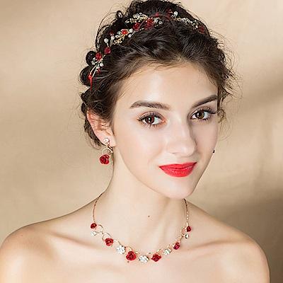 Hera 赫拉 愛的宣言紅玫瑰鑲鑽扭珠新娘飾品-玫瑰項鍊