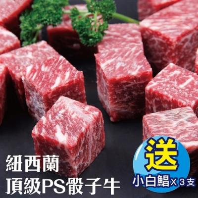 (加贈小白鯧)【海陸管家】紐西蘭頂級PS骰子牛8包(每包約150g)